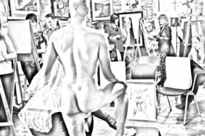 Hen Party : Naked Guy in Art Class with Girl